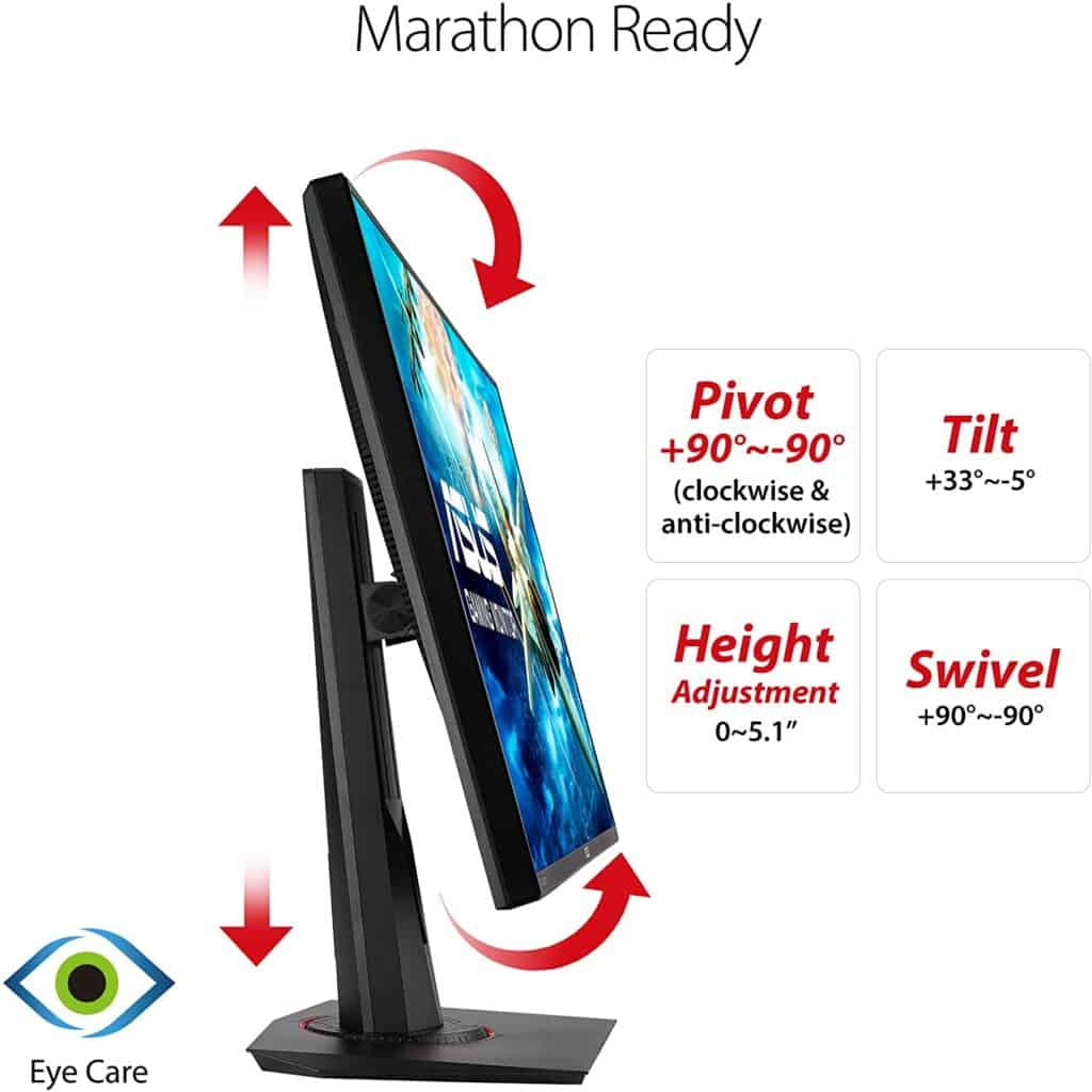 Asus VG278Q With Adjustable Height And Rotation With Tilt